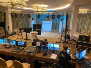 Plateau télé Revents installé pour une convention digitale